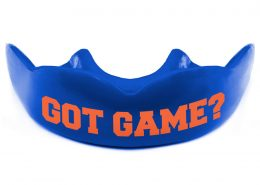 Warrior Mouthguards Personalized Text GOT GAME Orange on Navy Blue Mouth Guard