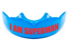 Warrior Mouthguards Personalized Text I AM SUPERMAN Red on Blue Mouth Guard